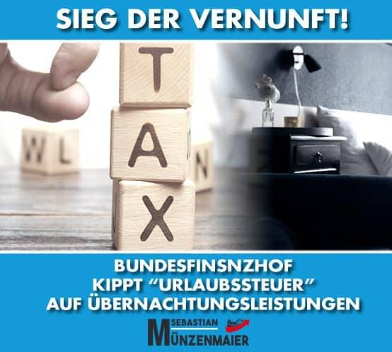 """Bundesfinanzhof kippt """"Urlaubssteuer"""" auf Übernachtungsleistungen"""