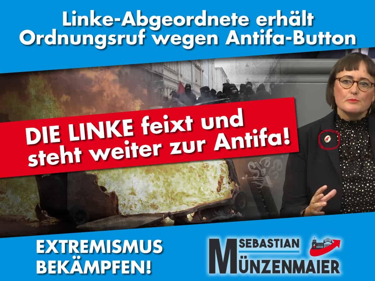 Linke trägt Antifa-Button