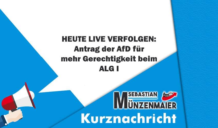 Heute live: Antrag der AfD zu ALG I