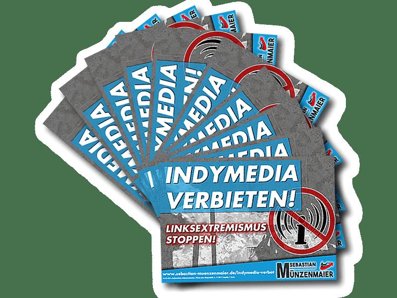 Indymedia Verbot - Aufkleberstapel