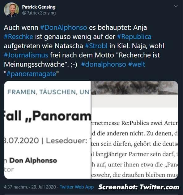 Panorama-Gate - Patrick Gensing - Twitter