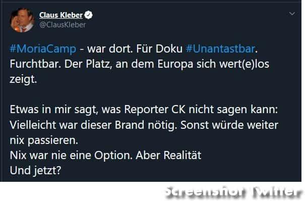Claus Kleber auf Twitter zum Brand in Moria