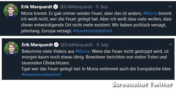 Erik Marquardt auf Twitter zum Brand in Moria