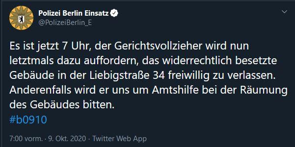 Liebig34 Räumung - Polizei Tweet