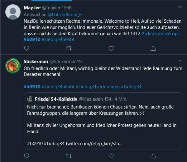 Tweets - Liebig34 Räumung