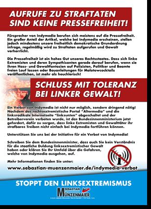 Indymedia-Verbot | Flugblatt Rückseite