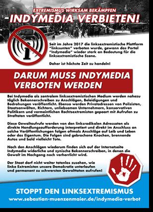 Indymedia-Verbot | Flugblatt Vorderseite