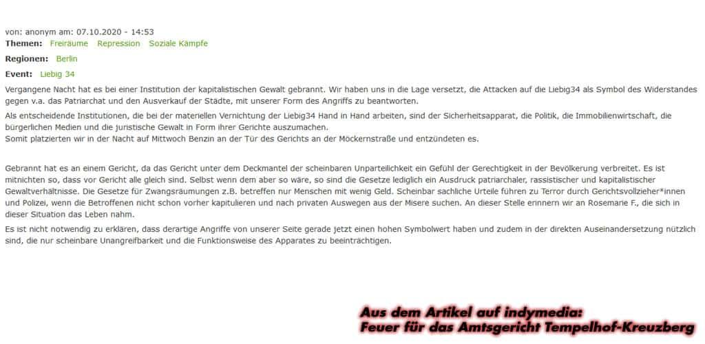 Indymedia: Feuer für das Amtsgericht Tempelhof-Kreuzberg