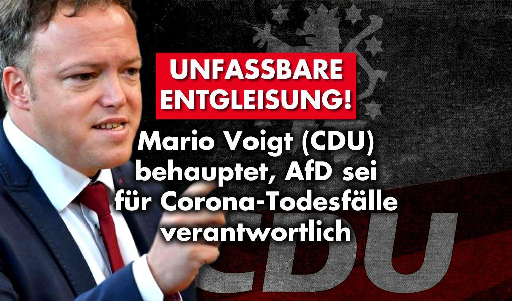 Mario Voigt (CDU) behauptet, AfD sei für Corona-Todesfälle verantwortlich