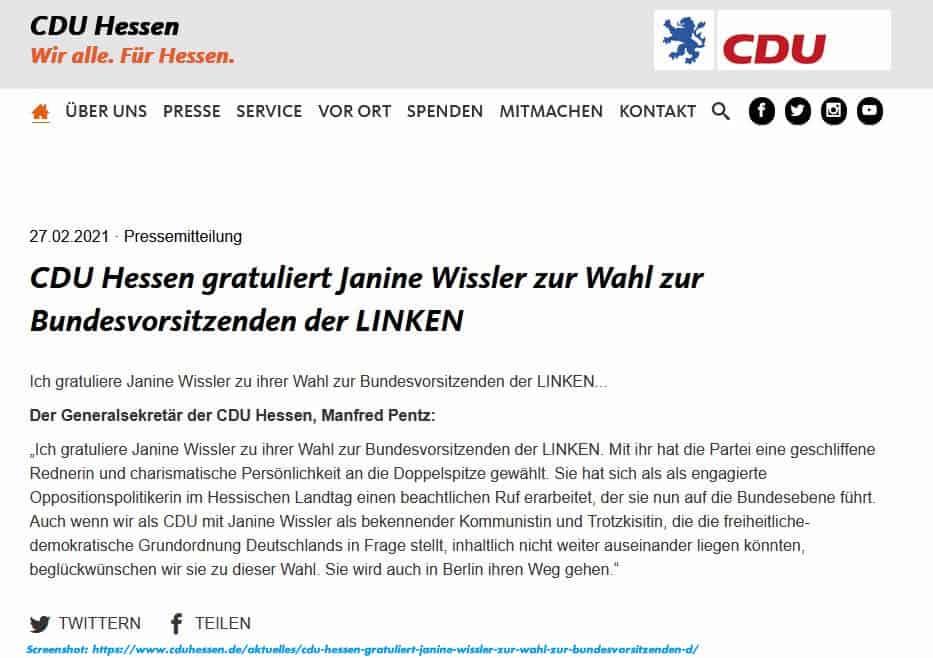 CDU-Hessen gratuliert Janine Wissler