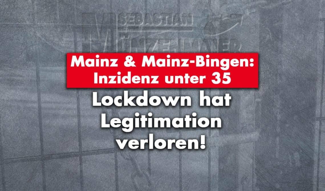 Mainz und Mainz-Bingen: Inzidenz unter 35 - Lockdown hat Legitimation verloren!