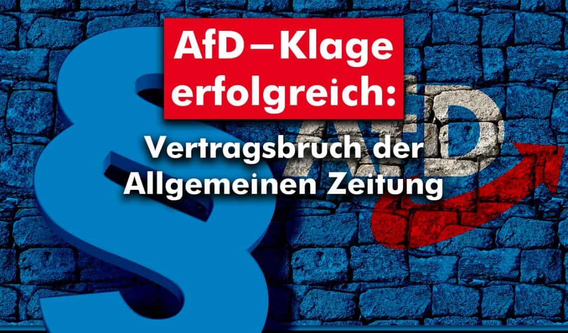 AfD-Klage erfolgreich: Vertragsbruch der Allgemeinen Zeitung