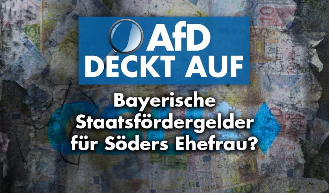 AfD deckt auf: Bayerische Staatsfördergelder für Söders Ehefrau?