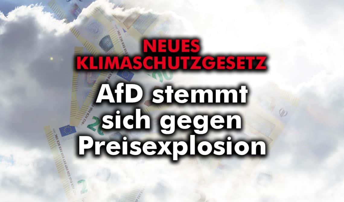 Neues Klimaschutzgesetz: AfD stemmt sich gegen Preisexplosion