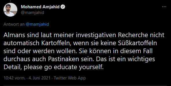 Mohamed Amjahid Tweet Almans / Süßkartoffeln