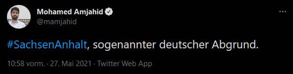 Mohamed Amjahid Tweet Sachsen-Anhalt