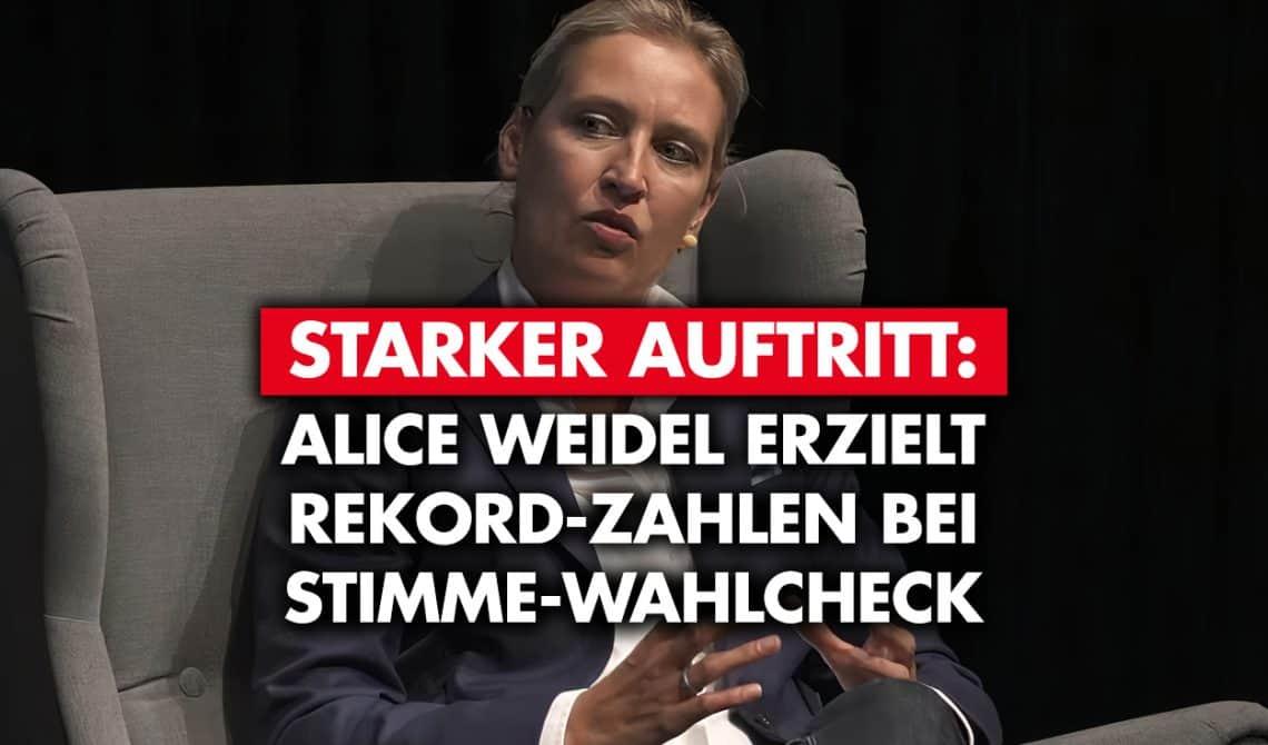 Alice Weidel erzielt Rekord-Zahlen bei Stimme-Wahlcheck