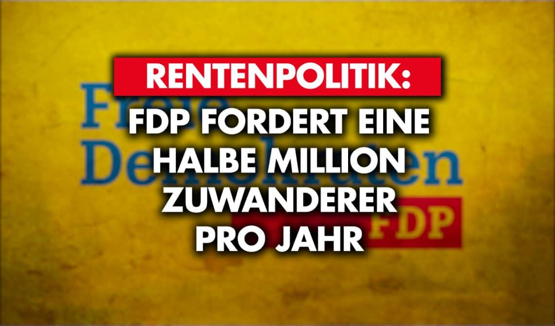 Rentenpolitik: FDP fordert eine halbe Million Zuwanderer pro Jahr!